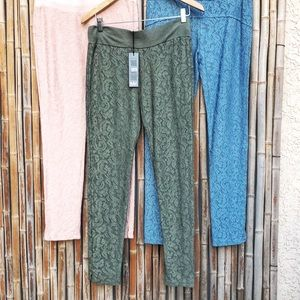 NEW Pink Blue or Green Floral Lace Leggings S-M-L